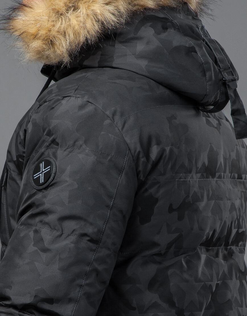 Куртка темно-серого цвета дизайнерская модель 71368 фото 7