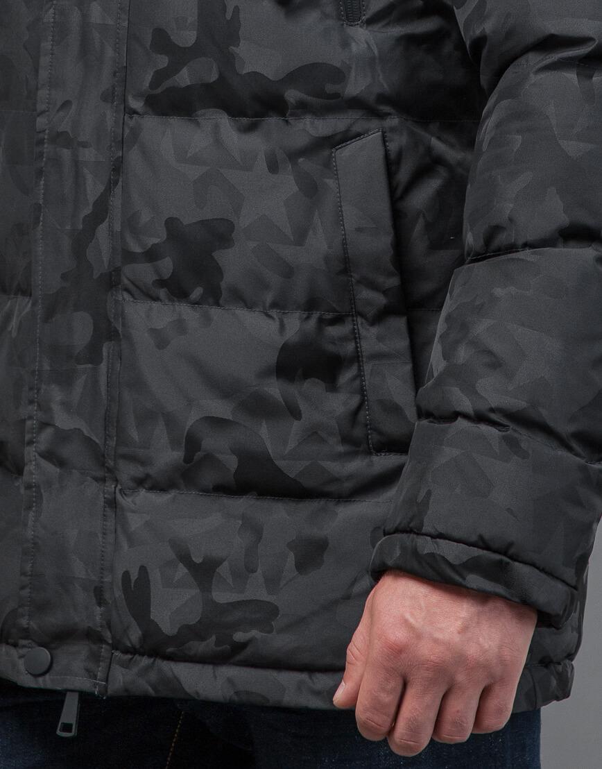 Куртка темно-серого цвета дизайнерская модель 71368 фото 6