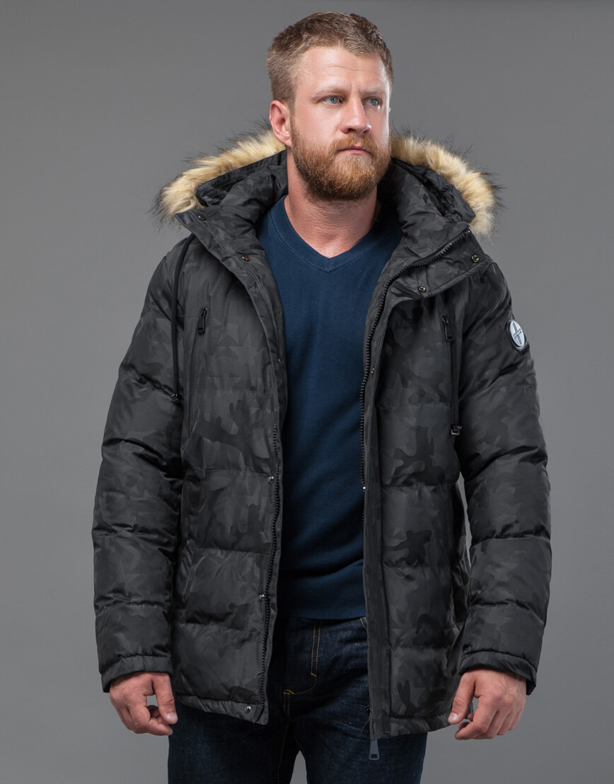 Куртка темно-серого цвета дизайнерская модель 71368 фото 1