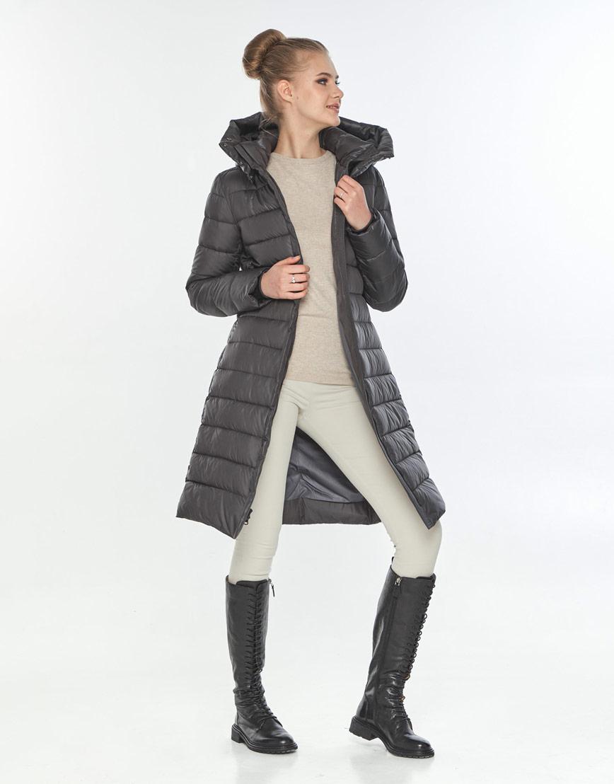 Куртка длинная с поясом женская Tiger Force серая TF-50245 фото 2