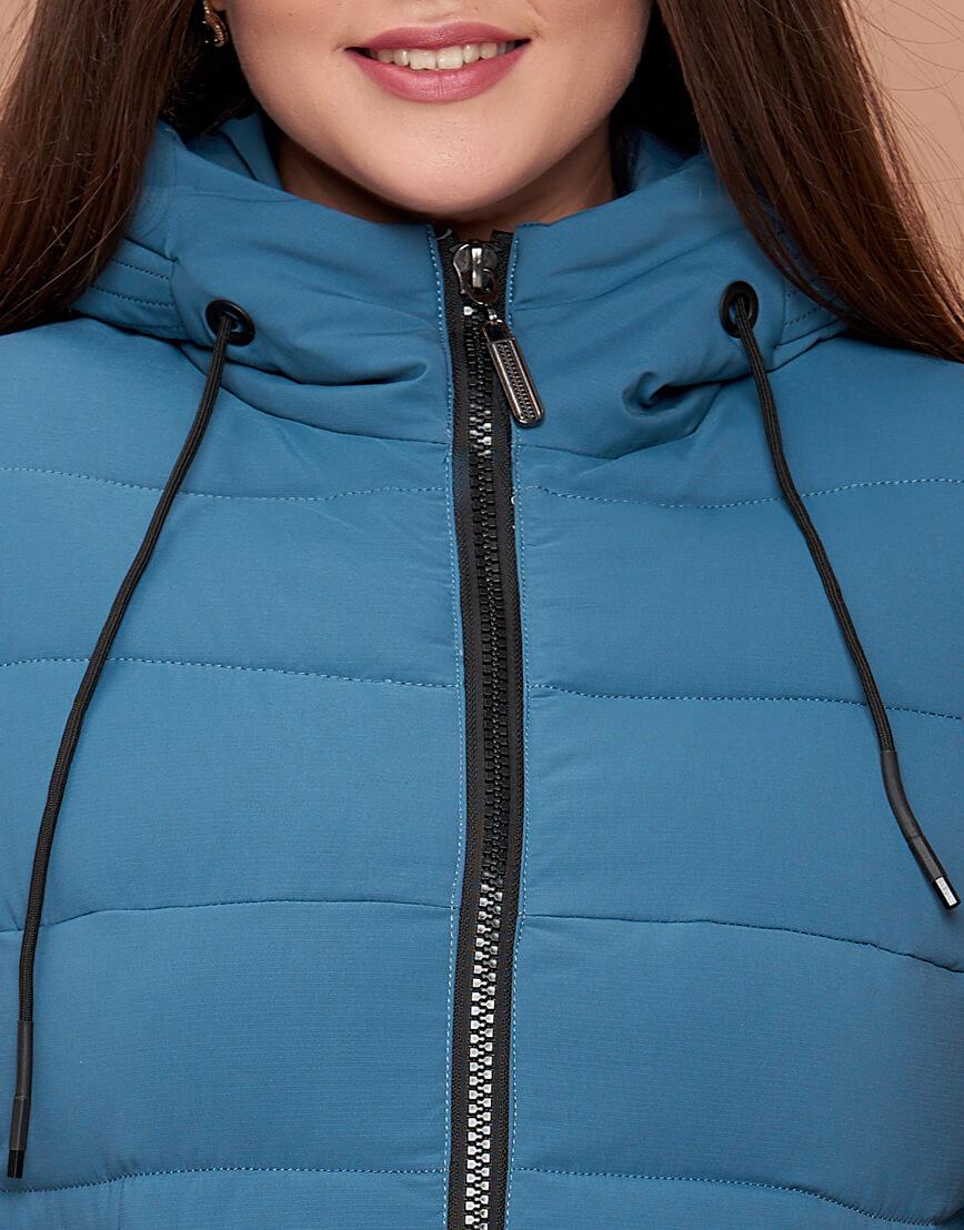 Темно-голубая женская зимняя куртка большого размера модель 25225 фото 5