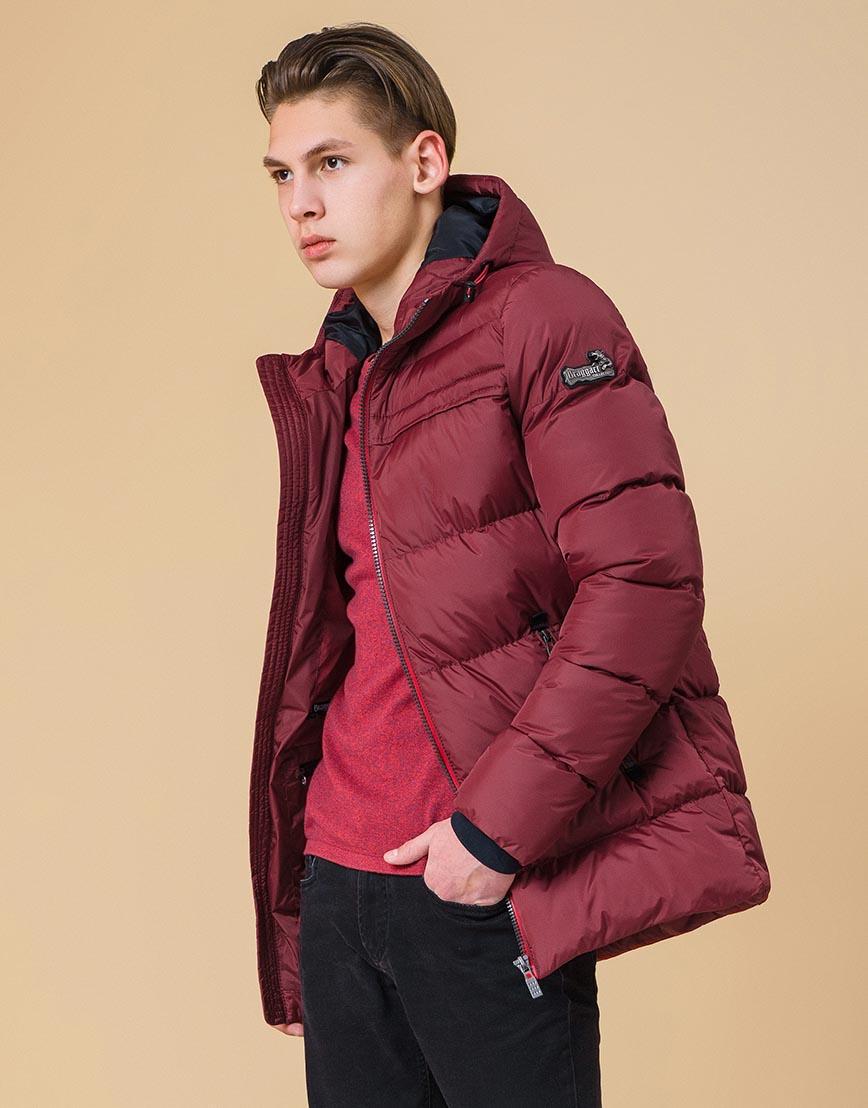 Брендовая куртка подростковая цвет бордово-красный модель 71293 оптом