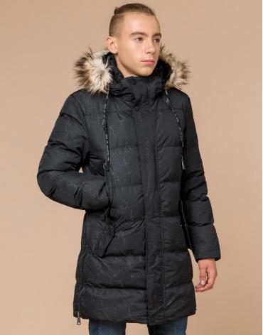 Подростковая качественная черная куртка дизайнерская модель 25070 оптом