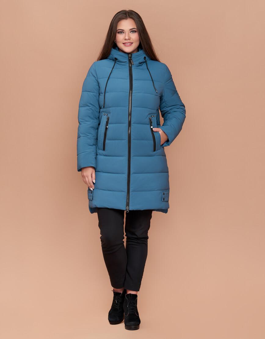 Темно-голубая женская зимняя куртка большого размера модель 25225 фото 2