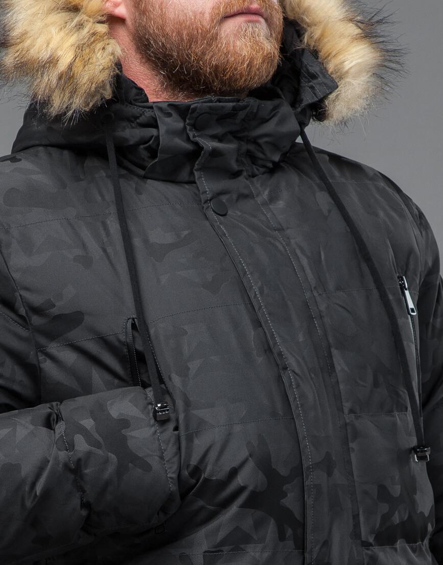 Куртка темно-серого цвета дизайнерская модель 71368 фото 5