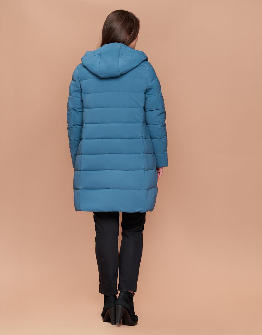 Темно-голубая женская зимняя куртка большого размера модель 25225 фото 4
