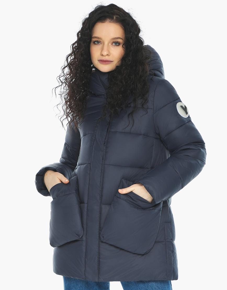 Куртка пуховик Youth молодежный темно-синий трендовый модель 25680 фото 1