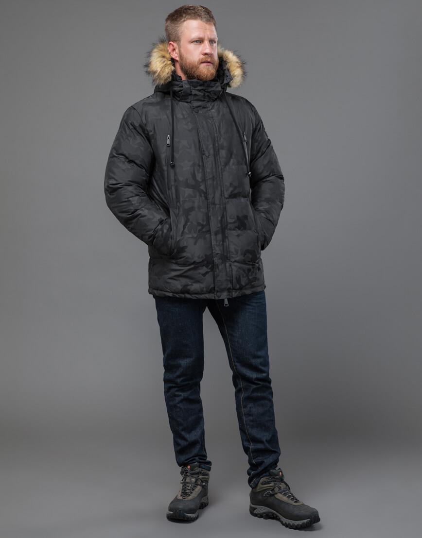 Куртка темно-серого цвета дизайнерская модель 71368 фото 2