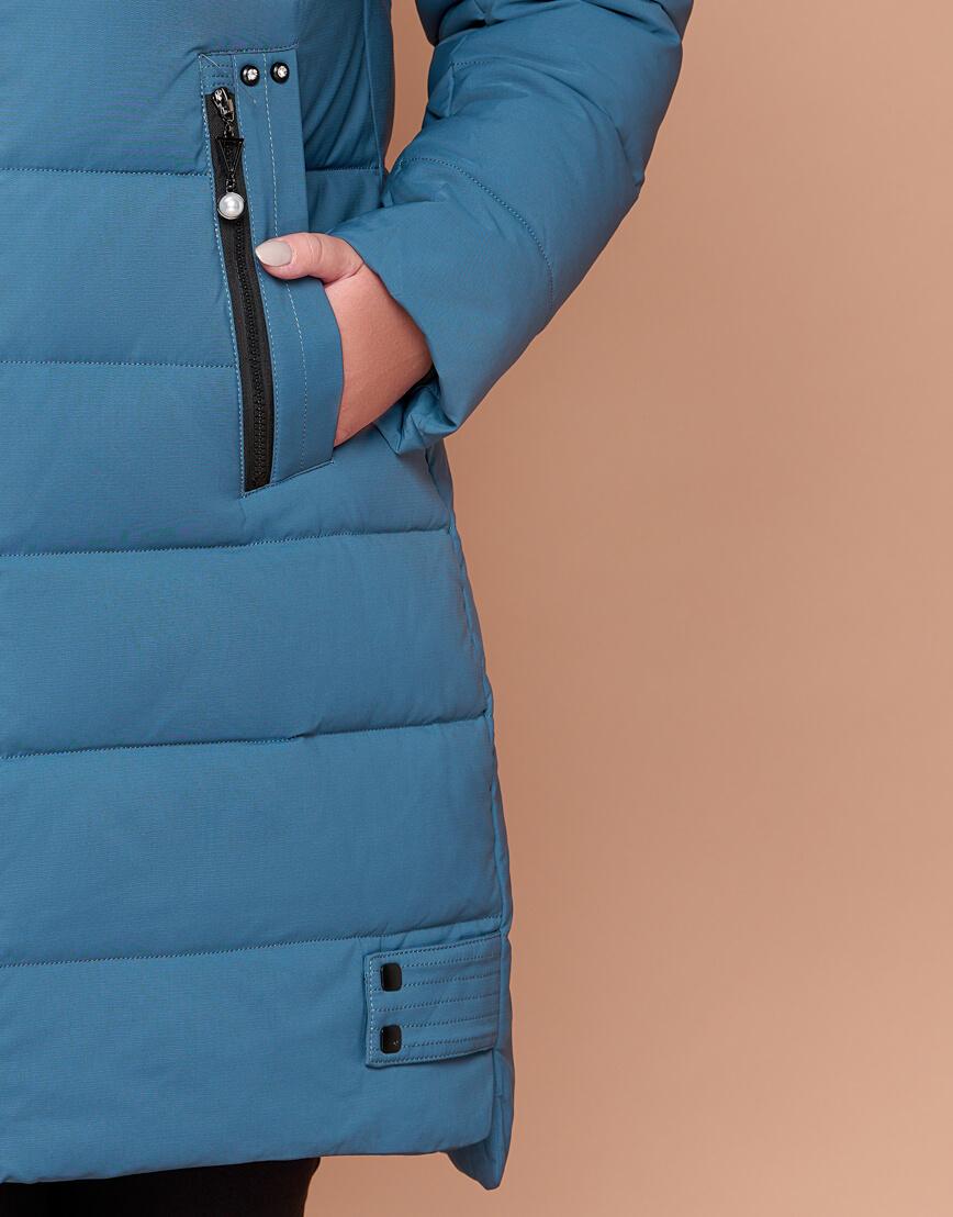 Темно-голубая женская зимняя куртка большого размера модель 25225 фото 6