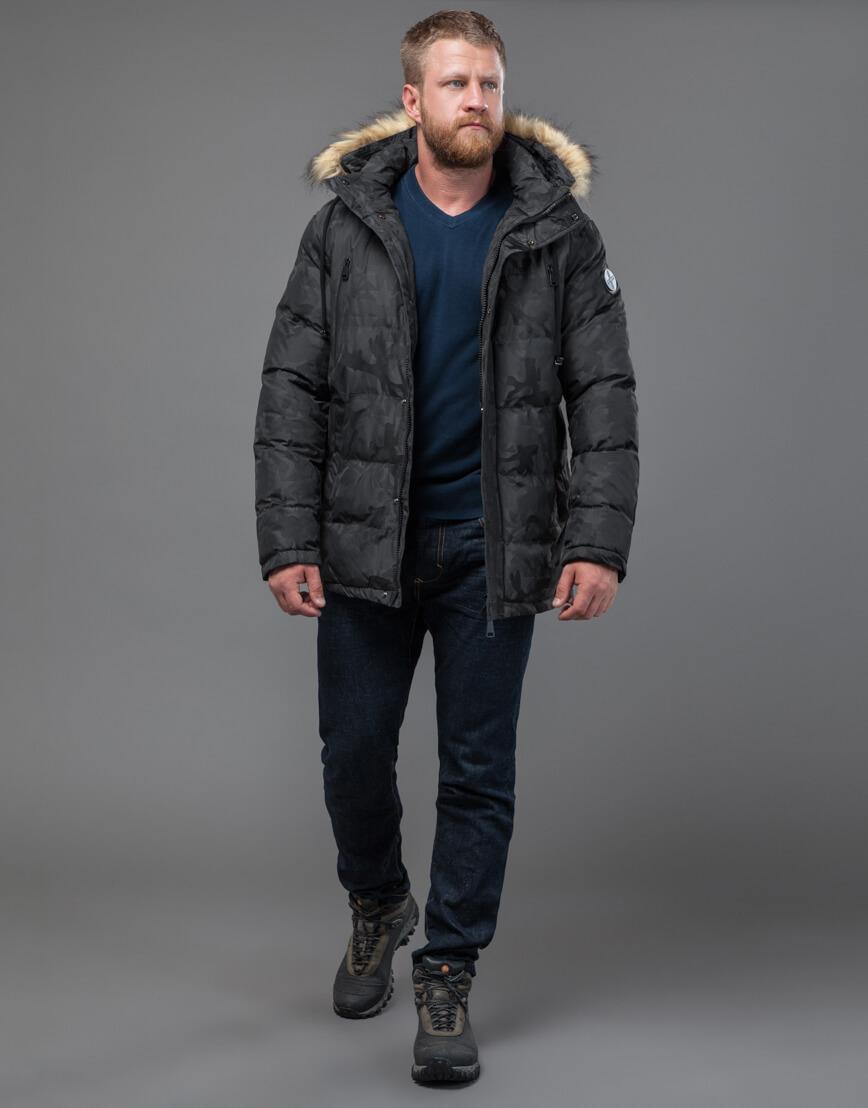 Куртка темно-серого цвета дизайнерская модель 71368 фото 3