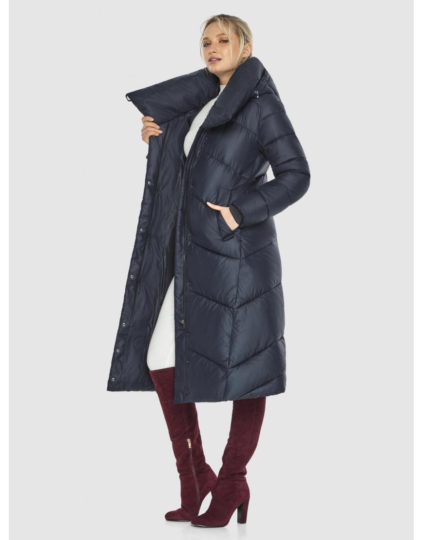 Длинная брендовая куртка женская Kiro Tokao синяя 60035 фото 6