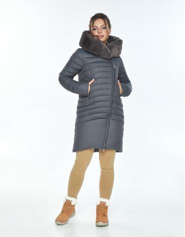 Серая куртка с капюшоном зимняя Ajento женская 24138 фото 1