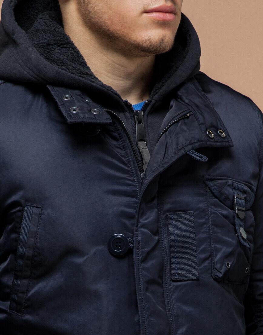 Парка темно-синяя зимняя современная модель 17197 фото 4