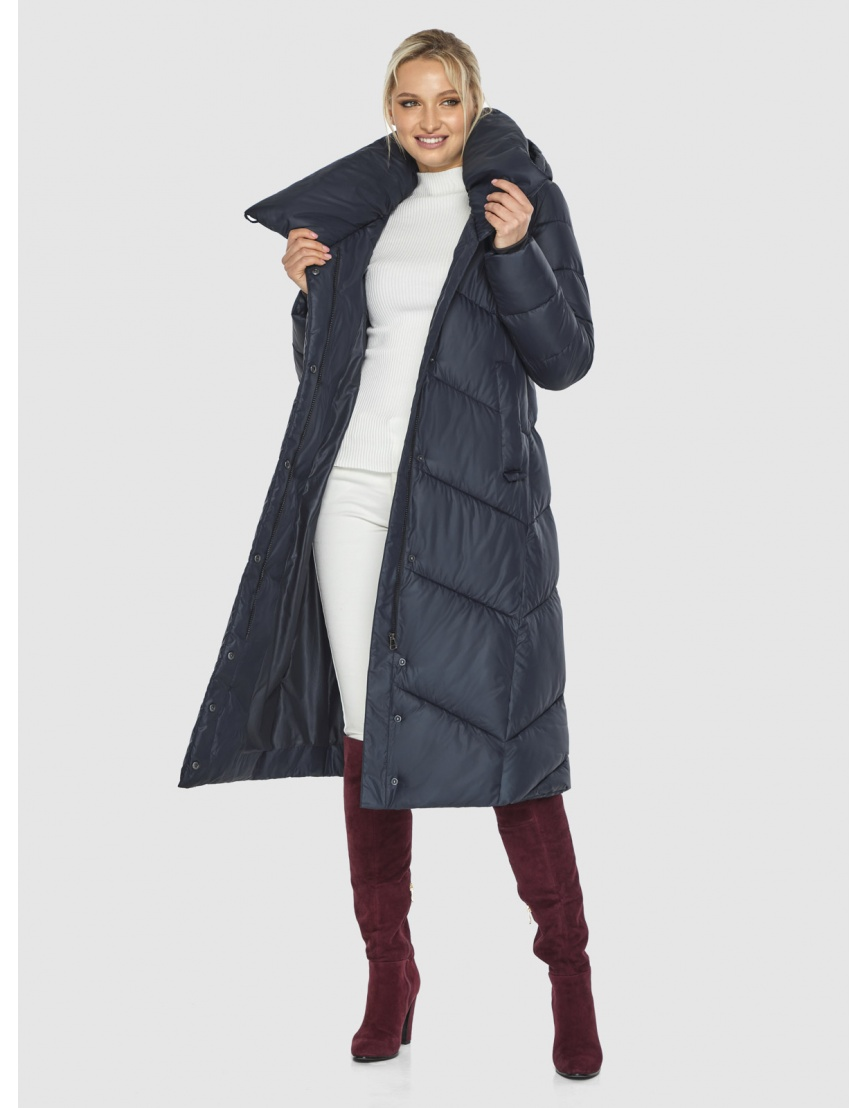 Длинная брендовая куртка женская Kiro Tokao синяя 60035 фото 2