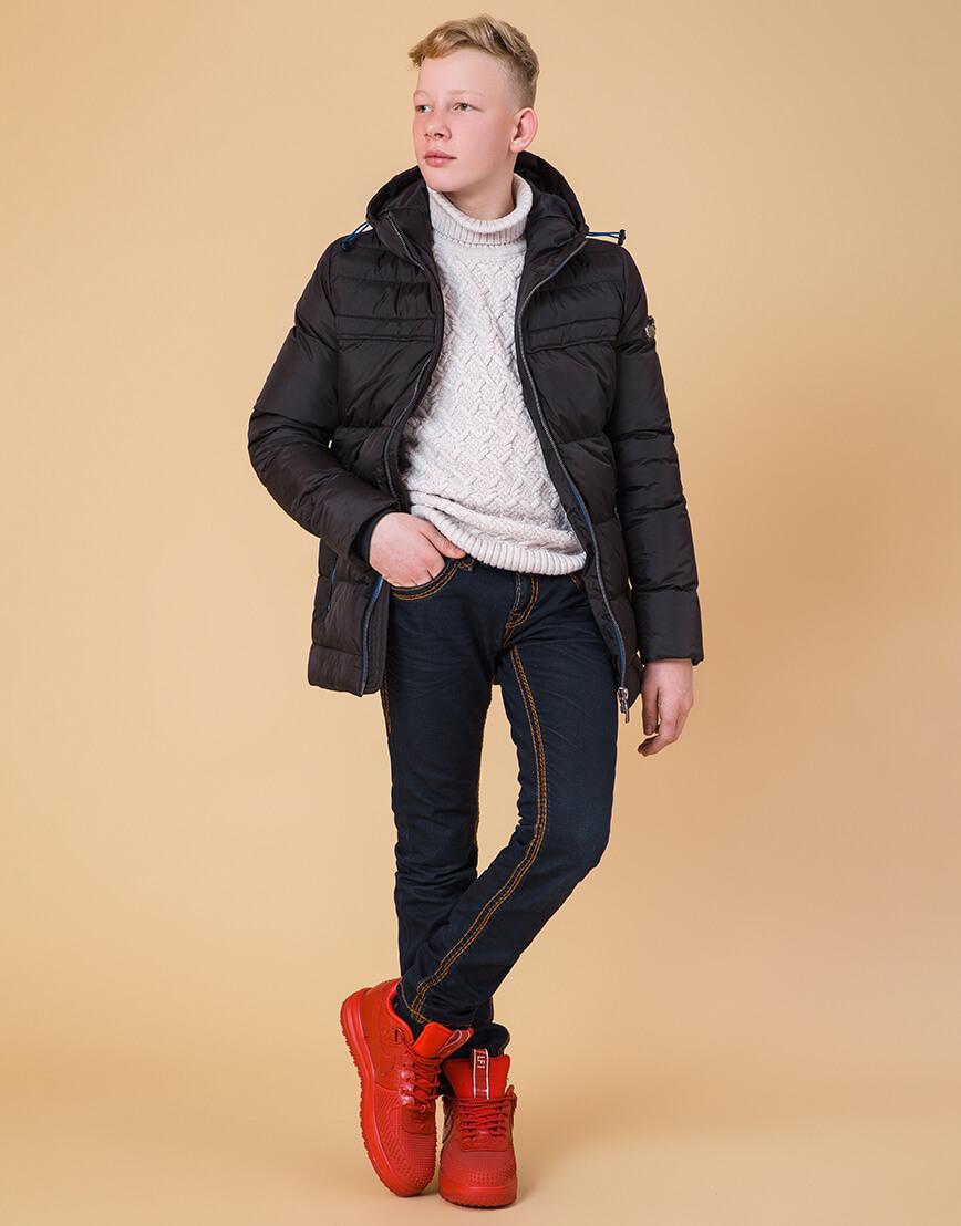 Детская куртка цвет черный-электрик модель 65122 фото 2