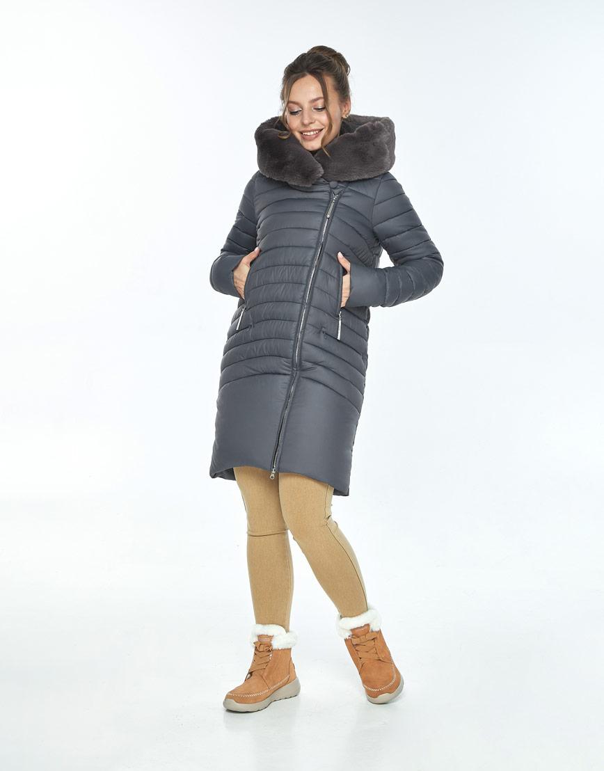 Серая куртка с капюшоном зимняя Ajento женская 24138 фото 2