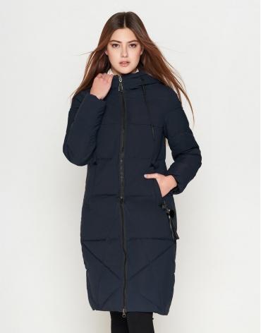 Женская темно-синяя куртка с капюшоном модель 25495