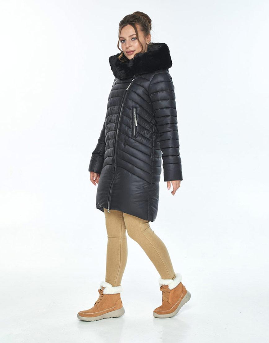 Стильная куртка чёрная женская Ajento на зиму 24138 фото 2