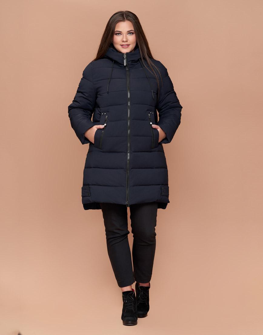 Куртка женская зимняя теплая большого размера темно-синего цвета модель 25225
