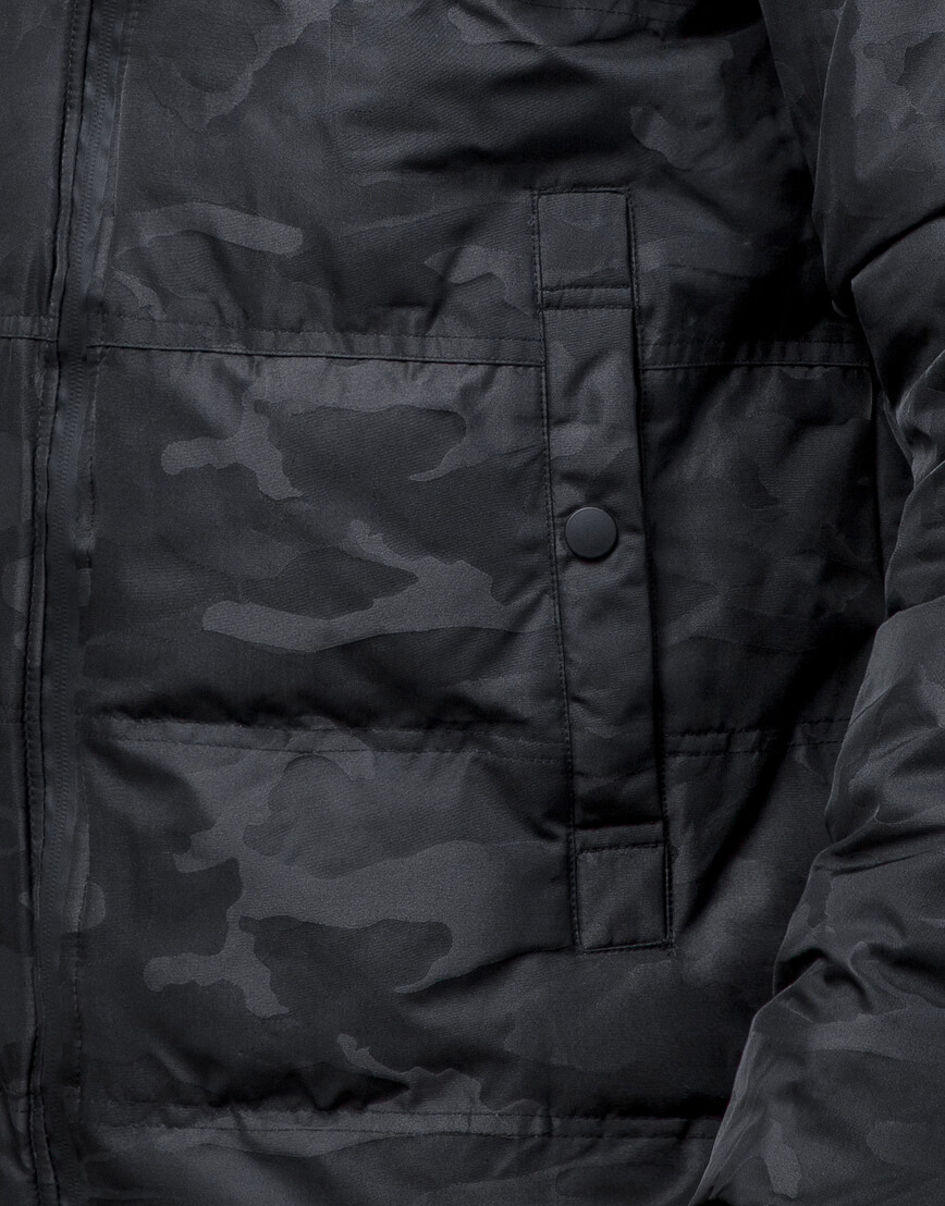 Дизайнерская зимняя куртка высокого качества черная модель 25020 фото 6