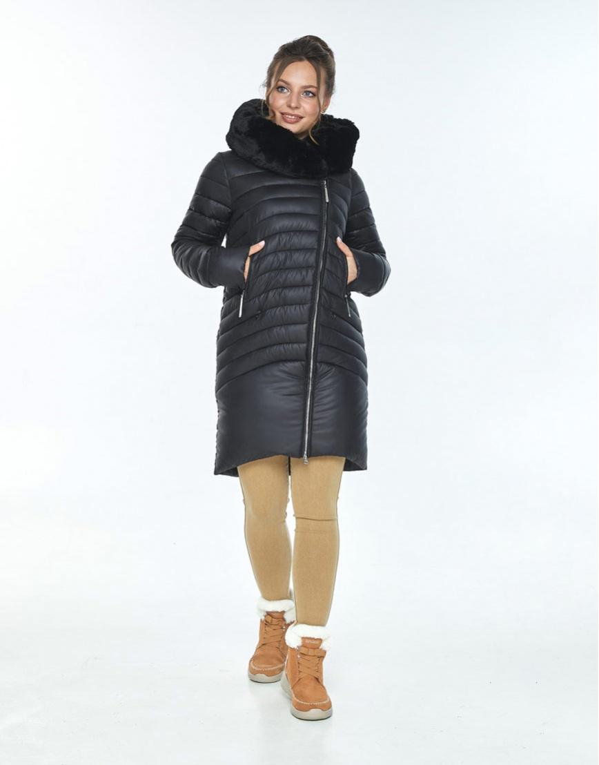 Стильная куртка чёрная женская Ajento на зиму 24138 фото 1