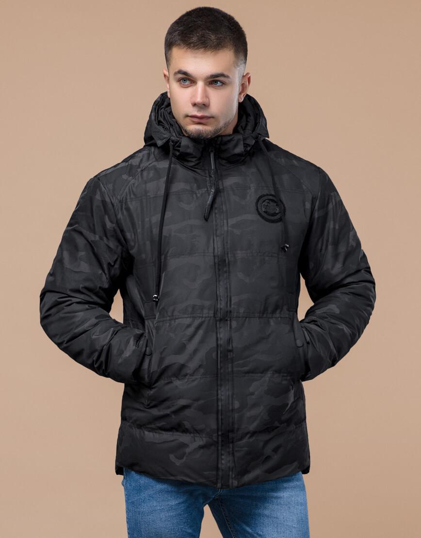 Дизайнерская зимняя куртка высокого качества черная модель 25020