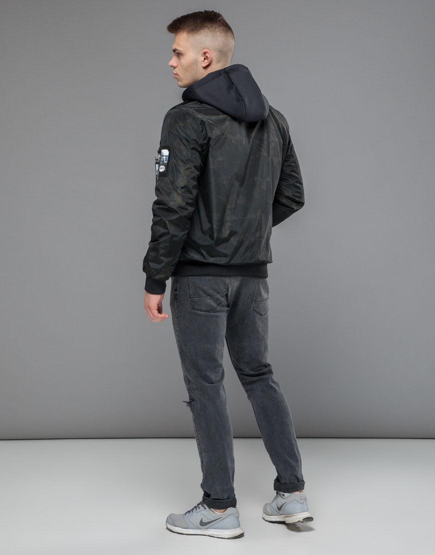 Мужской бомбер осенне-весенний черный модель 30155 оптом