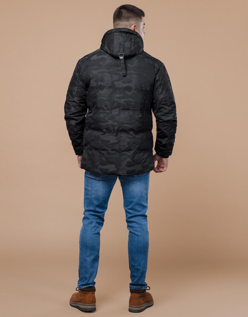 Дизайнерская зимняя куртка высокого качества черная модель 25020 фото 4