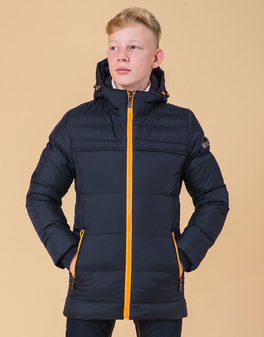Куртка модная детская цвет темно-синий-оранжевый модель 65122