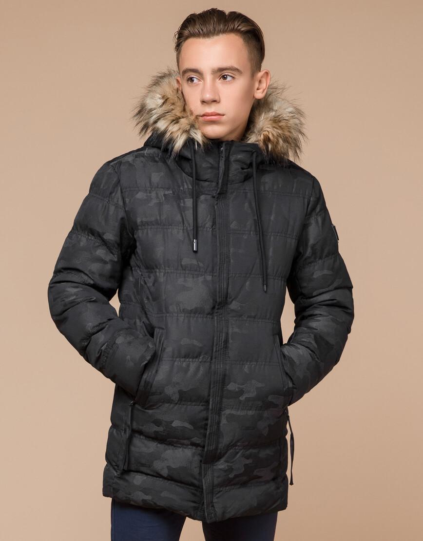Черная дизайнерская зимняя куртка теплая модель 25030 фото 2