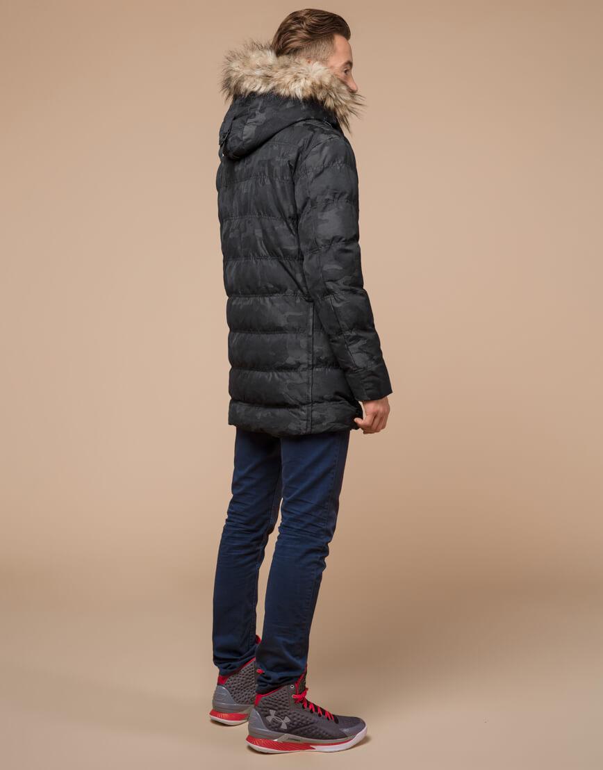 Черная дизайнерская зимняя куртка теплая модель 25030 фото 4