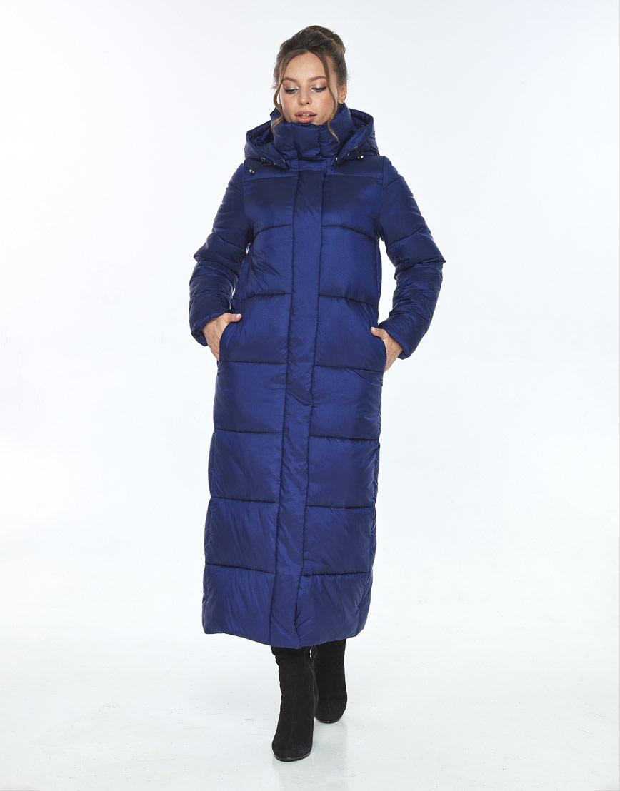 Длинная синяя куртка с карманами женская Ajento 21972 фото 1