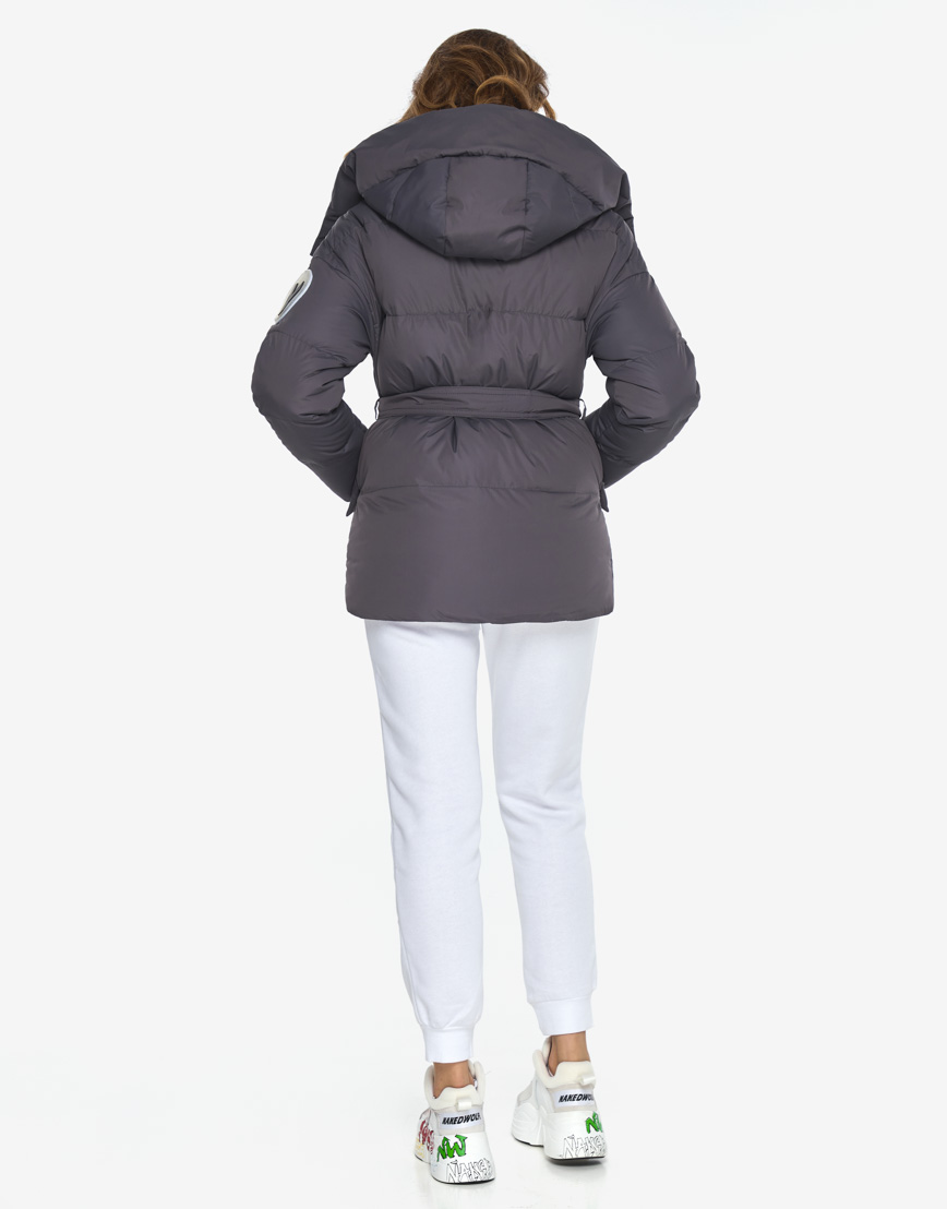 Пуховик куртка Youth молодежная модная графитовая модель 24350 фото 6