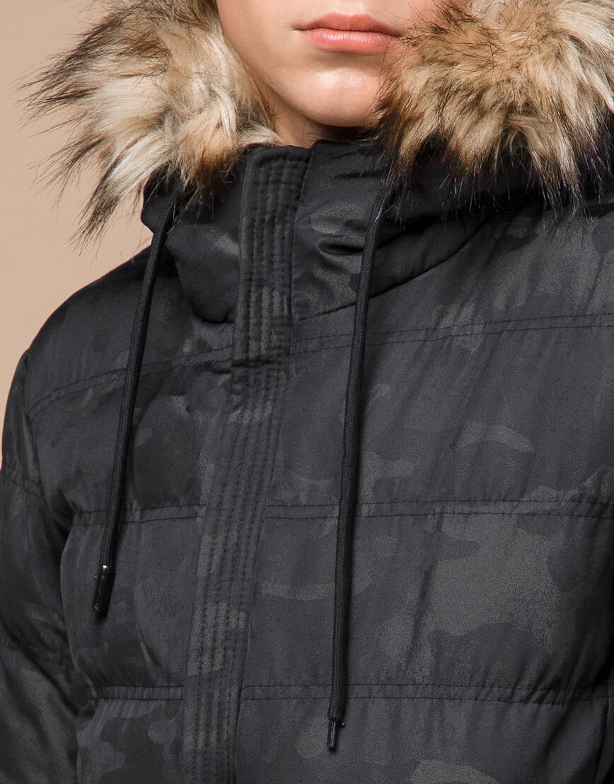 Черная дизайнерская зимняя куртка теплая модель 25030 фото 5