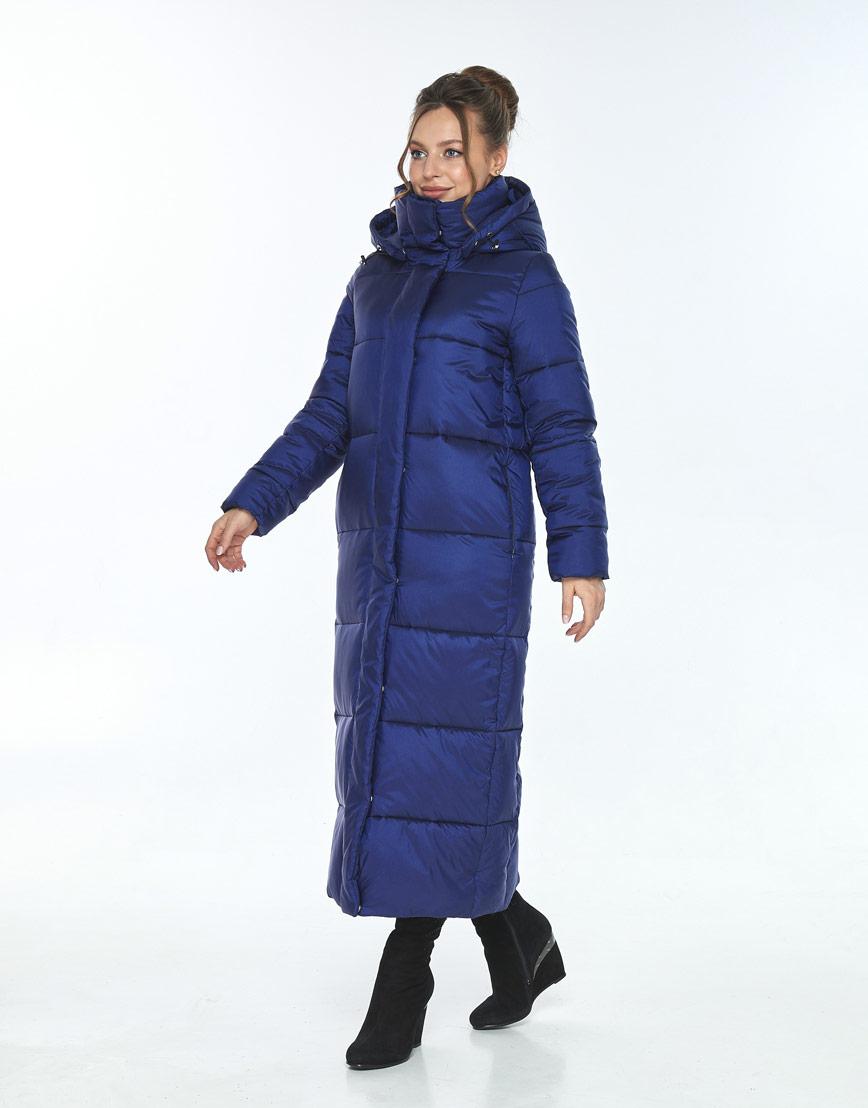 Длинная синяя куртка с карманами женская Ajento 21972 фото 2