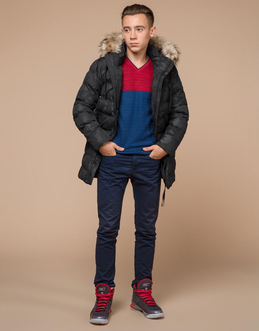 Черная дизайнерская зимняя куртка теплая модель 25030 фото 1