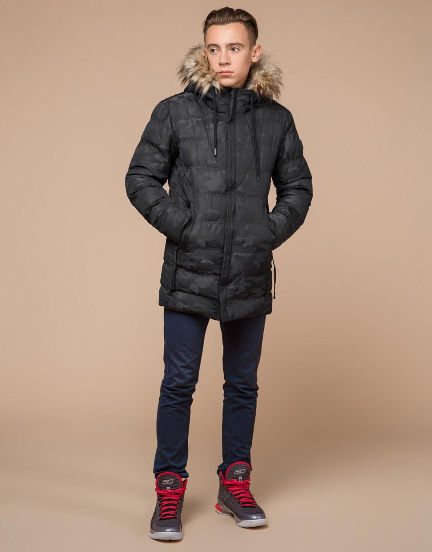 Черная дизайнерская зимняя куртка теплая модель 25030 фото 3
