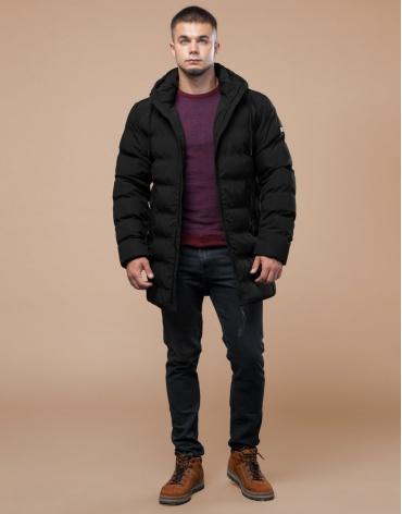 Модная зимняя куртка подростковая черного цвета модель 25080 оптом
