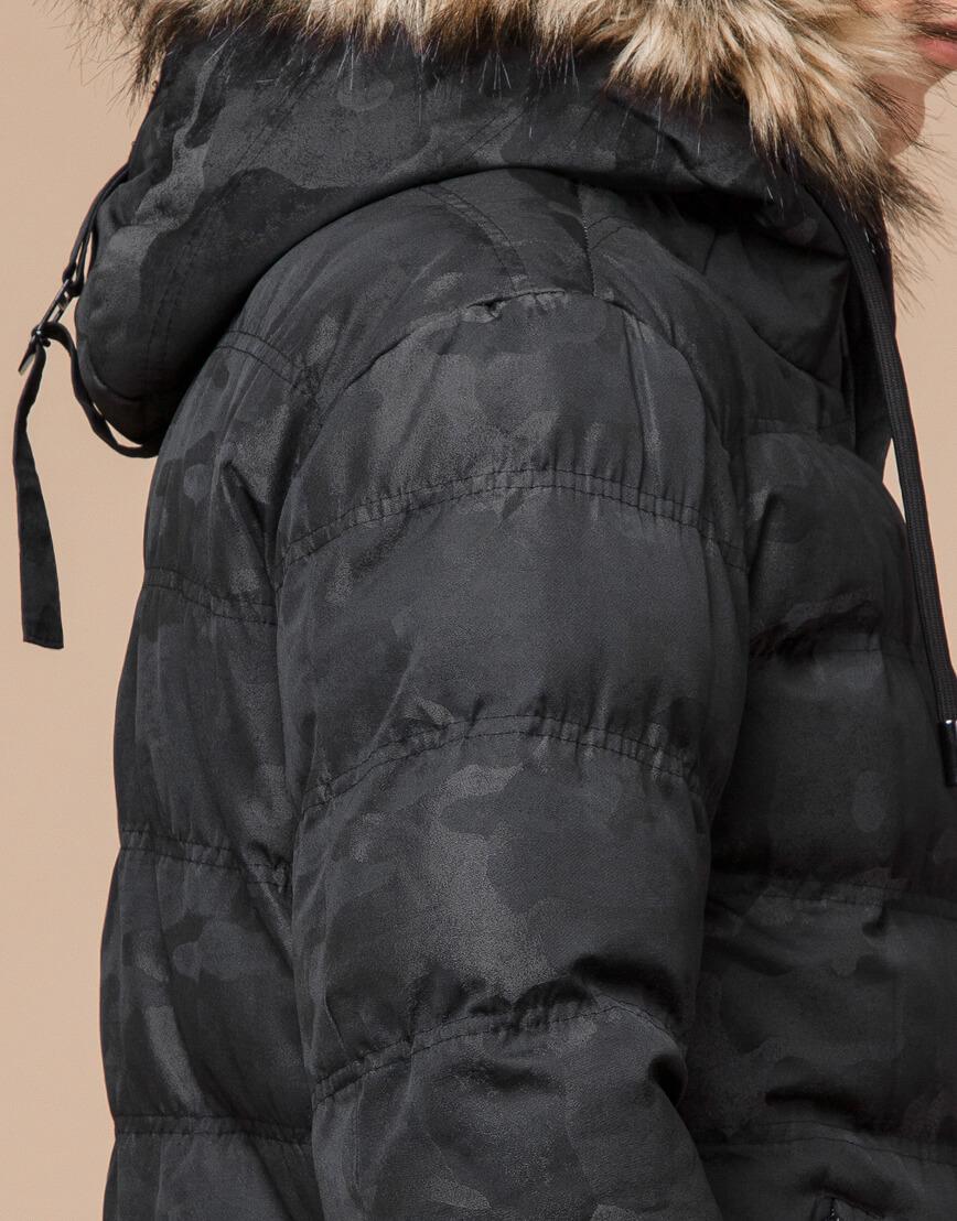 Черная дизайнерская зимняя куртка теплая модель 25030 фото 7