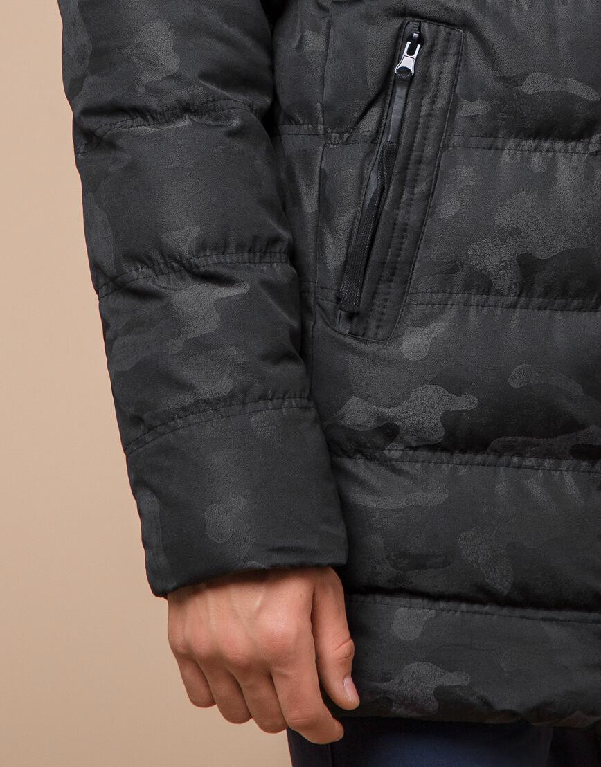 Черная дизайнерская зимняя куртка теплая модель 25030 фото 6