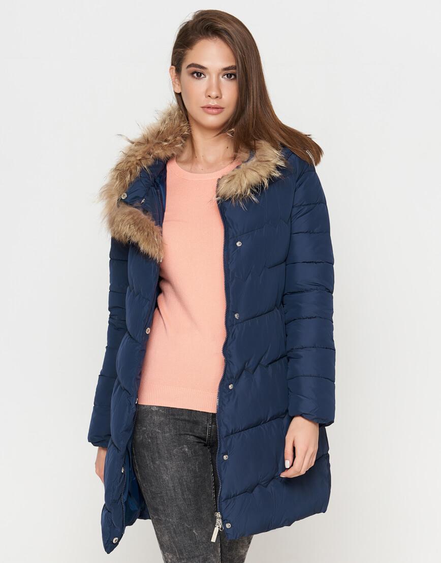 Куртка синяя женская на зиму модель 9087 фото 2