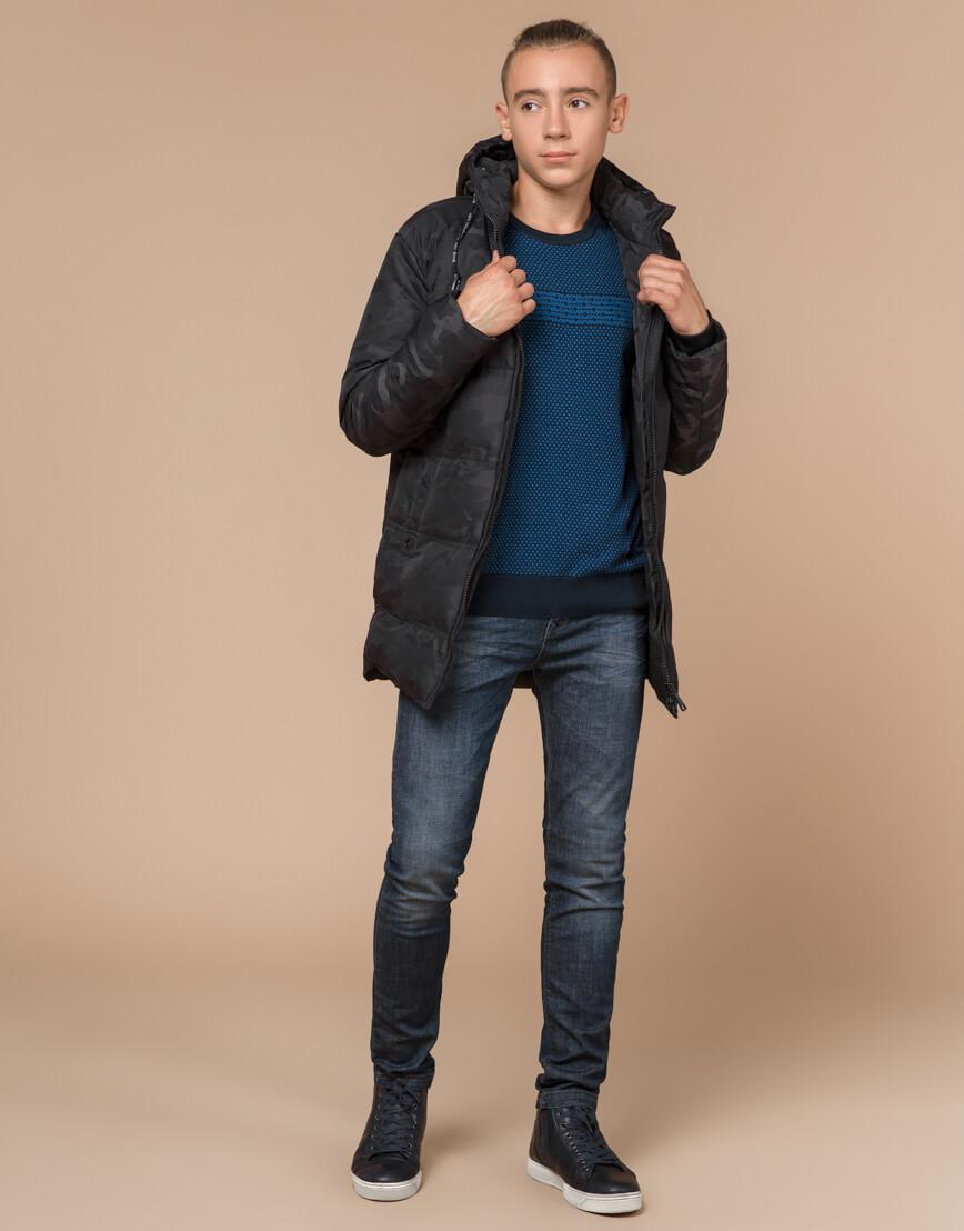 Черная фирменная дизайнерская куртка зимняя модель 25060 фото 3