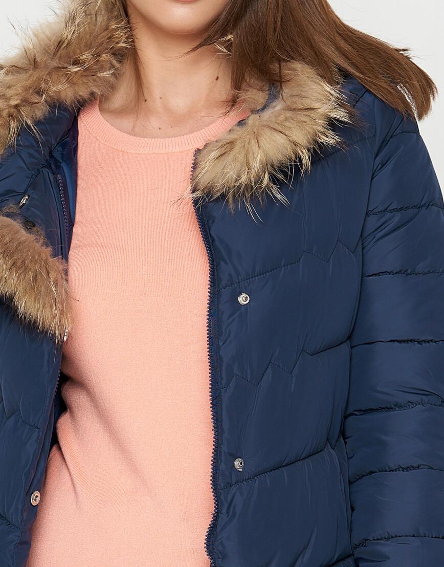 Куртка синяя женская на зиму модель 9087 фото 6