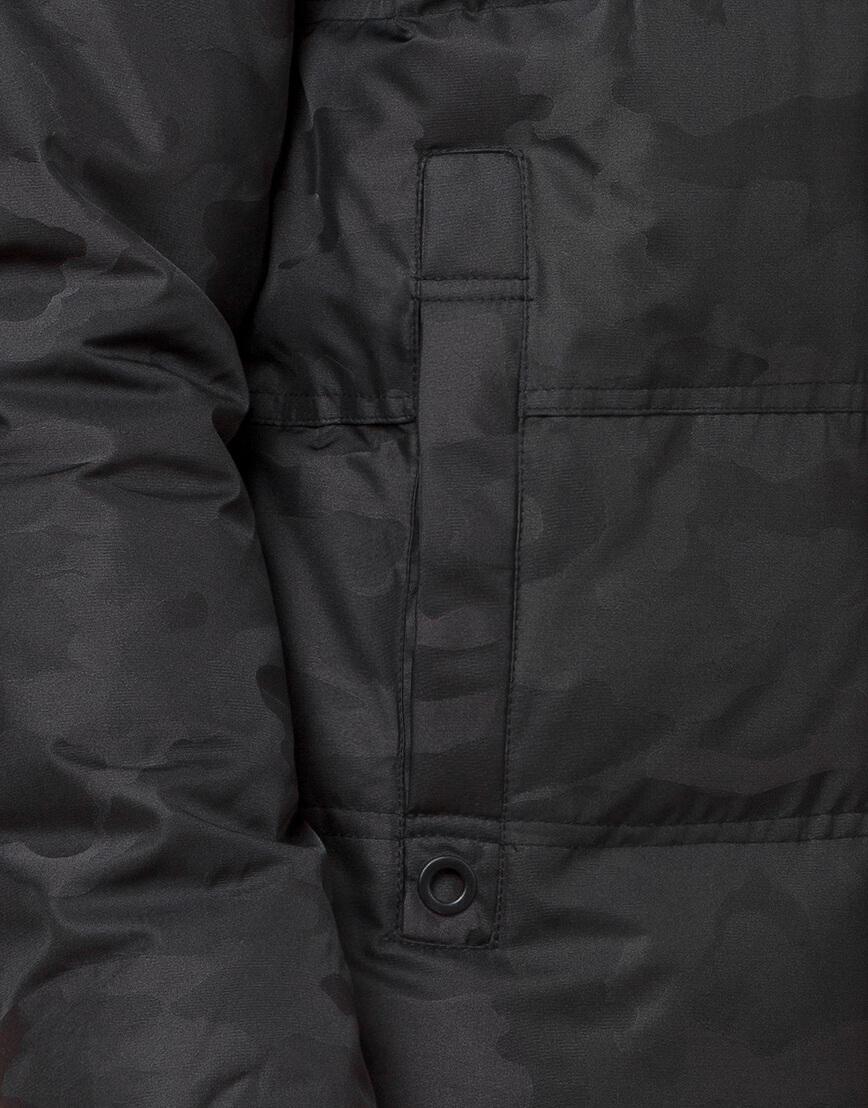 Черная фирменная дизайнерская куртка зимняя модель 25060 фото 6