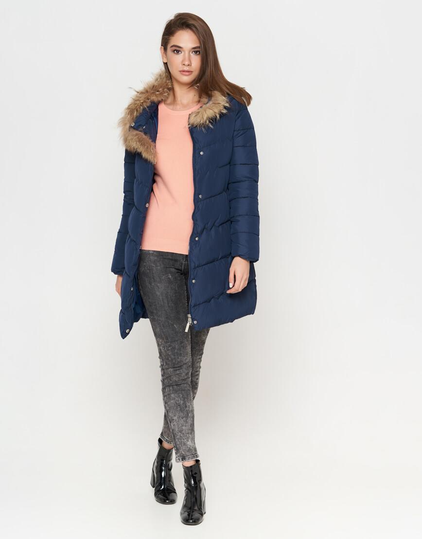 Куртка синяя женская на зиму модель 9087 фото 3