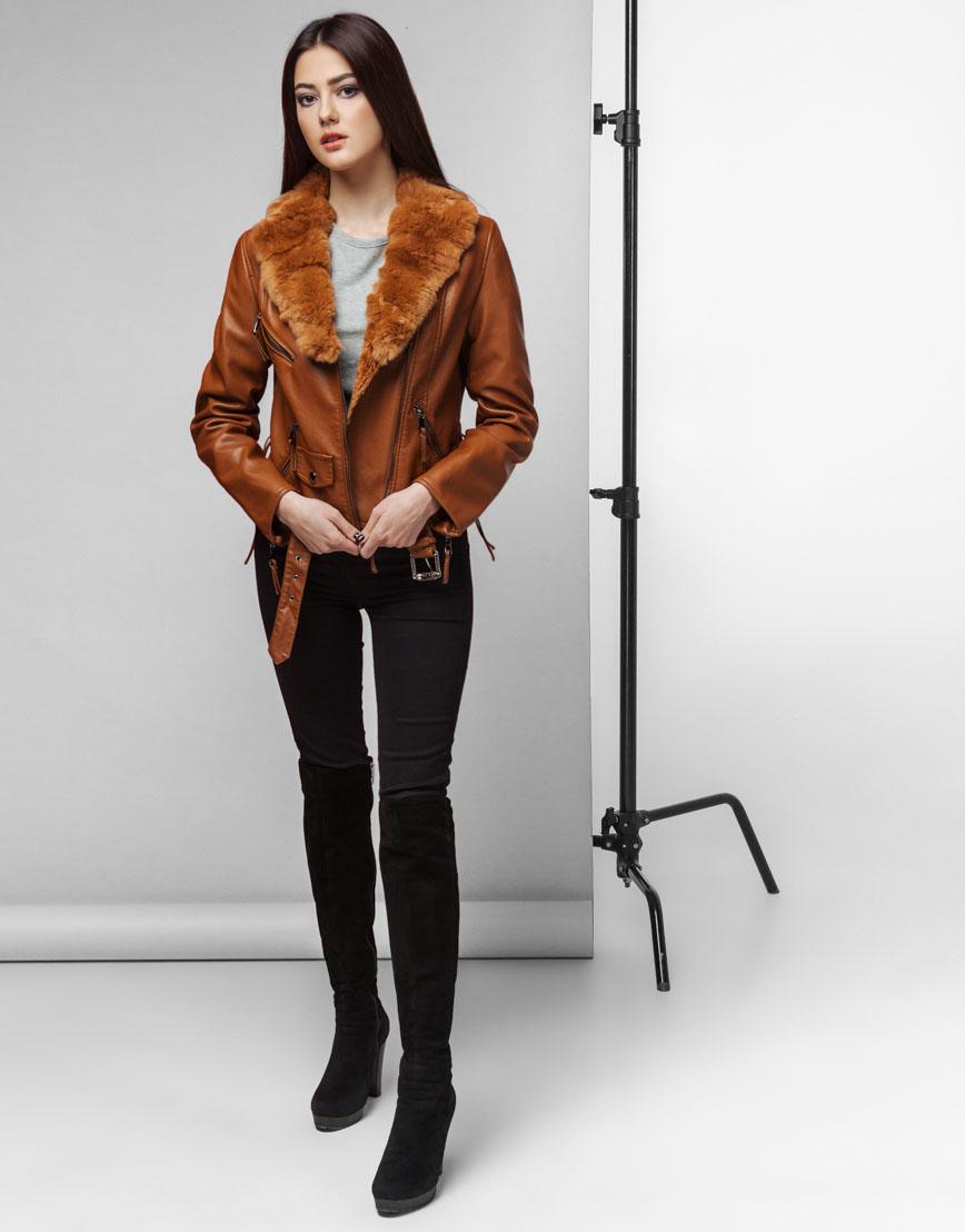 Современная женская коричневая куртка модель 25692 фото 2