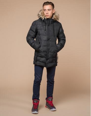 Подростковая теплая дизайнерская черная куртка модель 25030 оптом