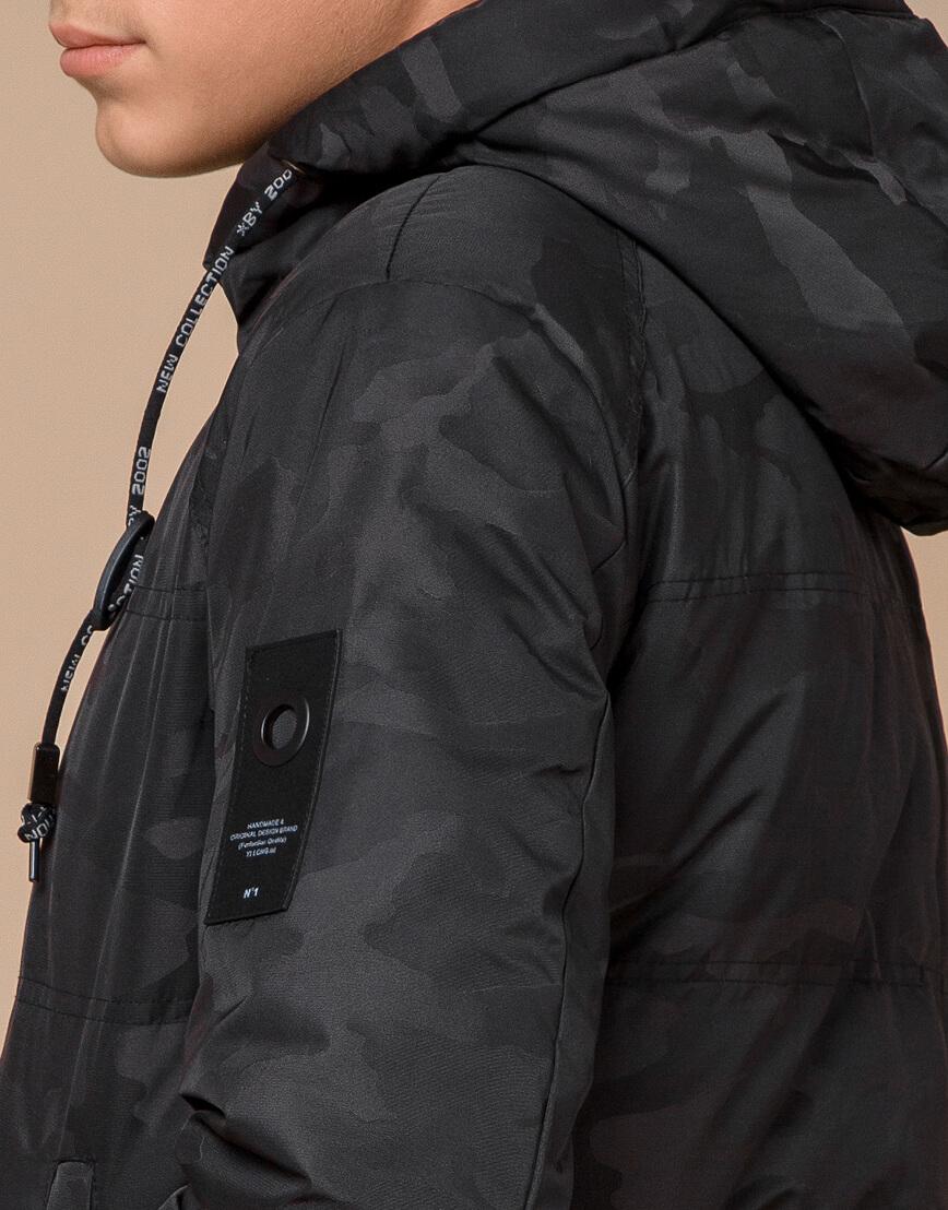 Черная фирменная дизайнерская куртка зимняя модель 25060 фото 7