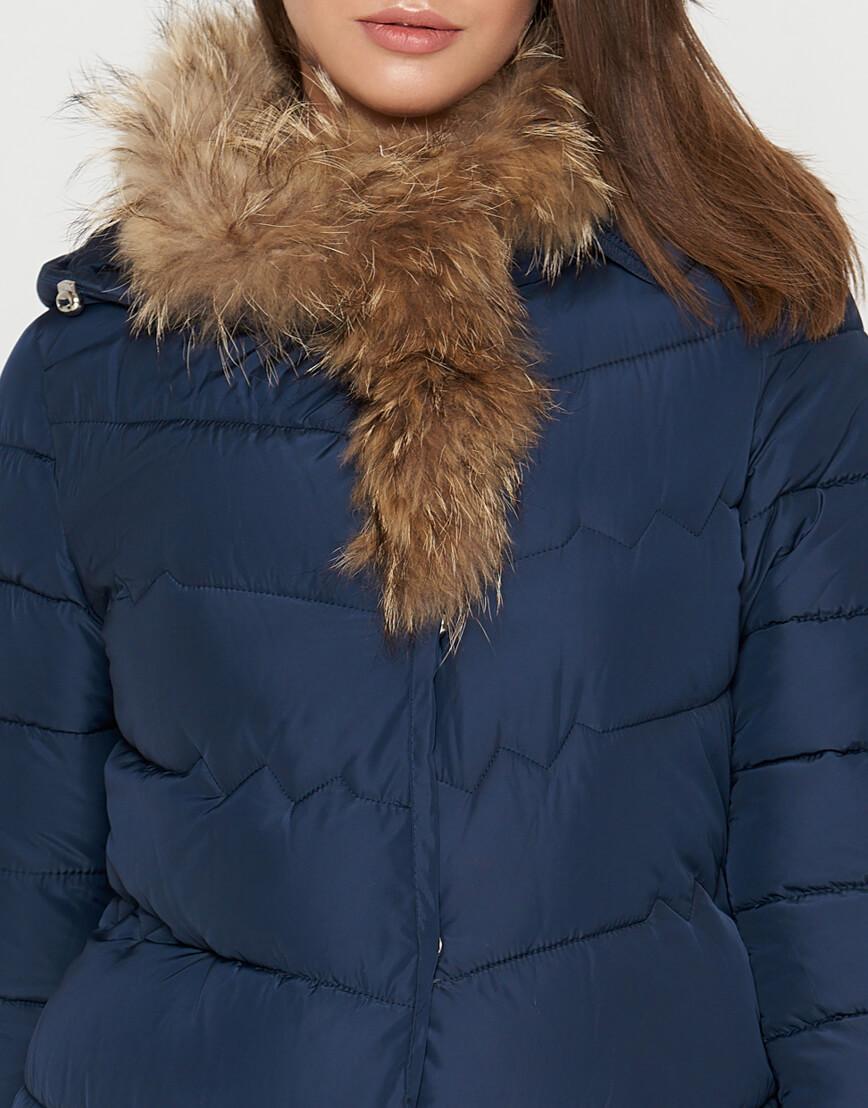 Куртка синяя женская на зиму модель 9087 фото 5