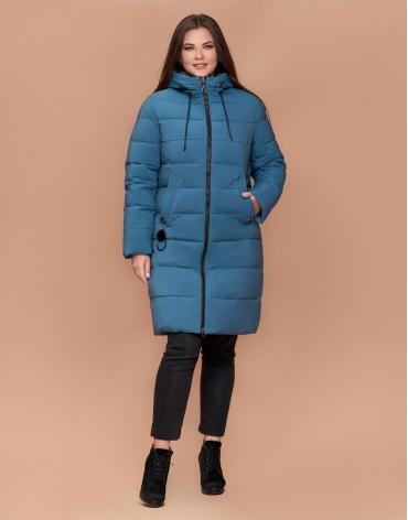 Куртка зимняя женская модная темно-голубая большого размера модель 25095